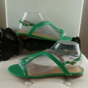 Talbots green leather sandals